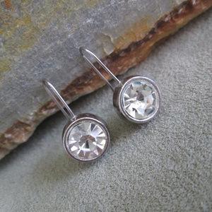 Sterling Silver Crystal Earrings Sparkling Pierced